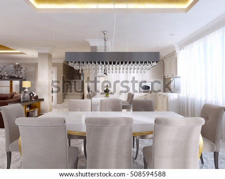 Large dining table for eight in the style of art Deco. White Desk with gold legs and a soft fabric chairs in beige. 3D render.