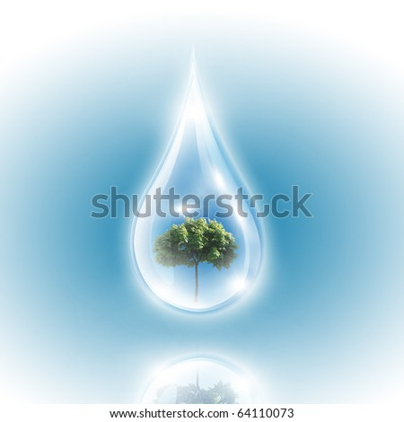 Large drops of green tree inside. Symbol of environmental protection - stock photo