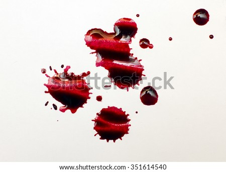 large drops of red ink - stock photo