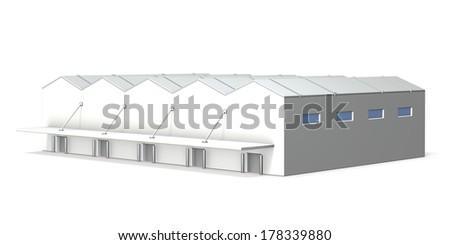 large eaves,many loading orifices,triangle roof - stock photo