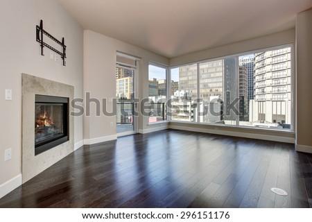 Large Empty Living Room Firep Hardwood Stock Photo 296151176 ...