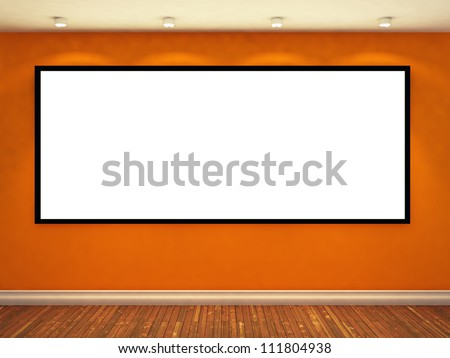 large empty photo frame on yellow wall. exhibition concept. 3d illustration - stock photo