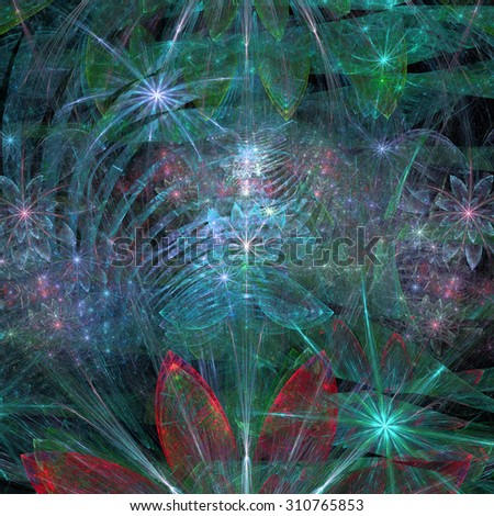 Large exotic abstract fractal flower background with decorative stars and arches in the middle and big flowers on top and bottom, all in high resolution and glowing blue,green,pink,red
