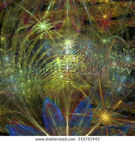 Large exotic abstract fractal flower background with decorative stars and arches in the middle and big flowers on top and bottom, all in high resolution and glowing blue,yellow,green,red