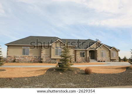 Large expensive modern house - stock photo
