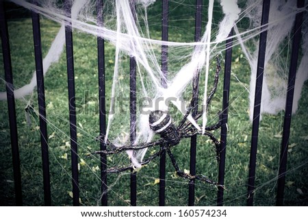 Large fake spider with spider webs - stock photo
