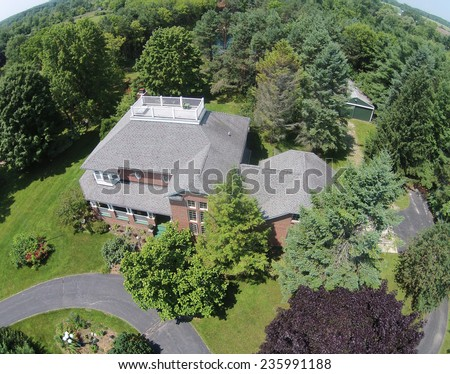 Large family home in the Midwest aerial view - stock photo