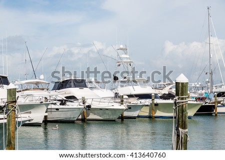 Large Fishing Boats in Tampa Marina - stock photo