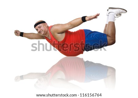 Large fitness man in a Superman pose - stock photo