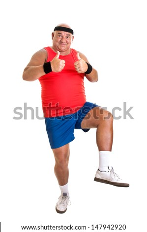 Large fitness man isolated in white - stock photo