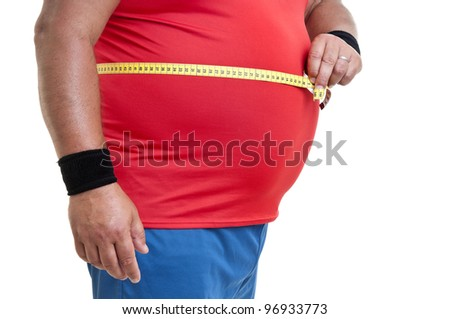 Large fitness man with measuring tape isolated in white