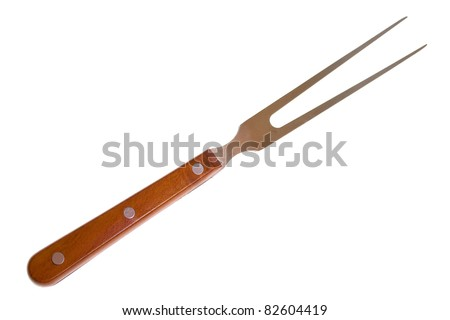 Large fork with wooden handle on a white - stock photo
