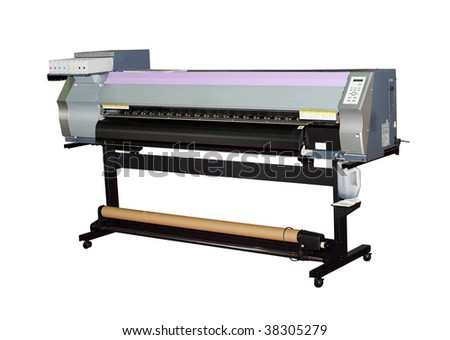 Large format inkjet printer for outdoor billboards printing isolated on white - stock photo