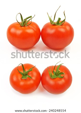Large fresh ripe tomatoes, healthy ingredient isolated on white background. - stock photo
