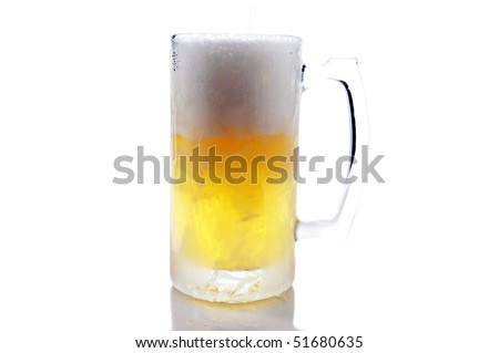 large frosted mug of beer on white with reflections below and room for your text or images - stock photo