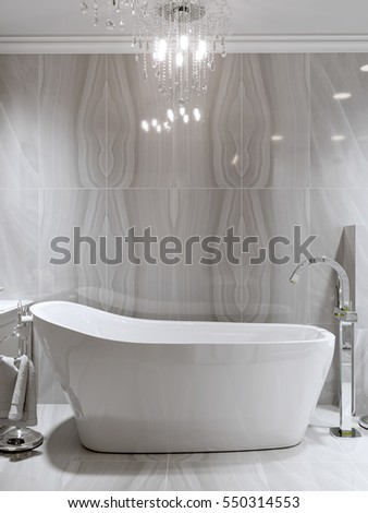 Large Furnished Bathroom In Luxury Home With Marble Tile Floor, Marble Tile  And Gray Wall
