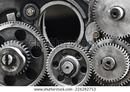 Large gears in the engine.