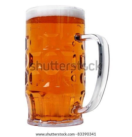 Large German bierkrug beer mug tankard glass, half litre, one pint of dark beer - isolated over white background