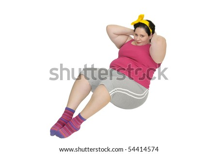Large girl doing fitness exercises isolated in white - stock photo
