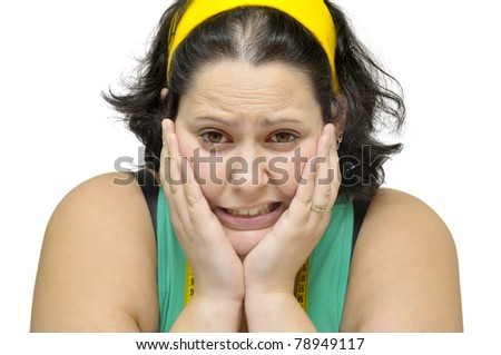 Large girl stressed portrait isolated in white - stock photo