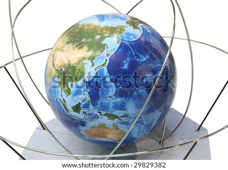 large globe on support with the pointers of orbits of satellites