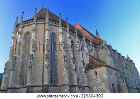 Large Gothic building of the Black Church (Biserica Neagra) in Brasov, Romania - stock photo