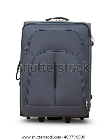 Large gray suitcase on wheels in closeup - stock photo