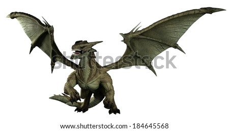 Large green dragon, 3d digitally rendered illustration - stock photo