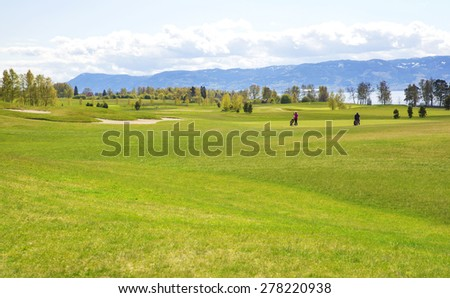 Large green professional golf course in europe  - stock photo