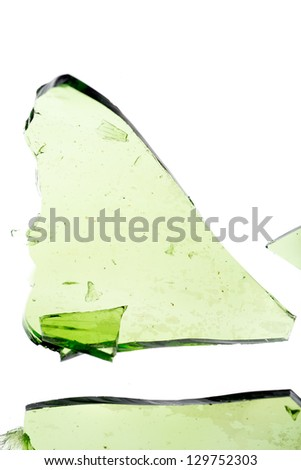 Large green shard of glass isolated on white