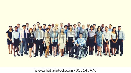 Large Group Business People Teamwork Collaboration Concept - stock photo