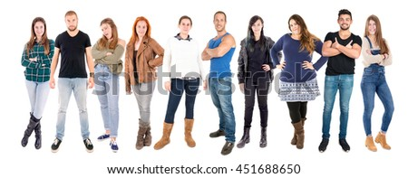 Large group of beautiful young people isolated in white - stock photo