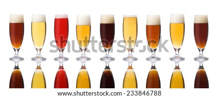 Large group of beers isolated on white background - stock photo