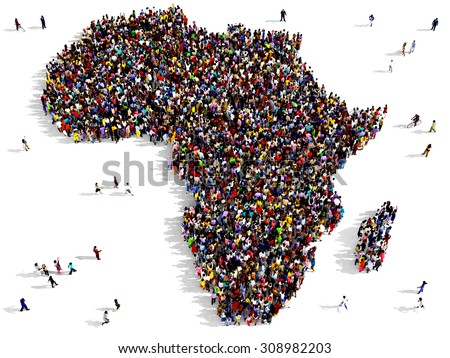 Large group of black and white people, seen from above, gathered together in the shape of Africa