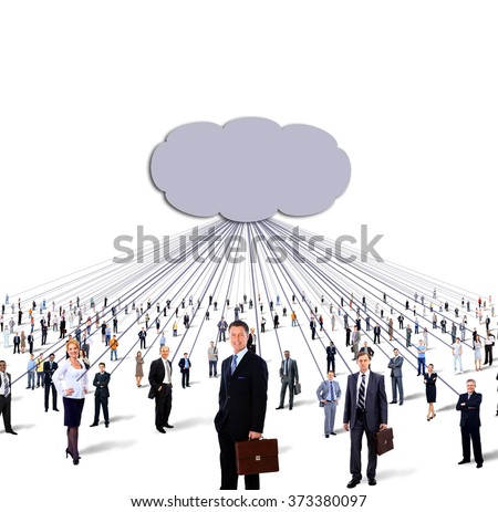 large group of business people and cloud computing and technology concept