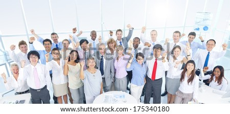 Large Group of Business People in the Office - stock photo