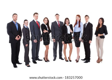 Large group of business people. Isolated on white - stock photo
