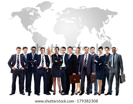 Large group of business people. Isolated over white - stock photo