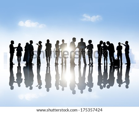 Large Group of Business People Meeting in Town - stock photo