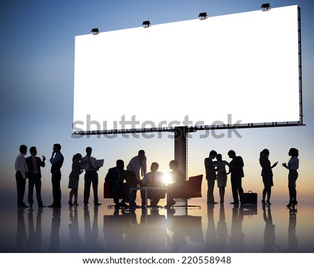 Large Group of Business People Meeting with Placard - stock photo
