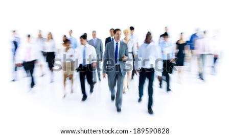Large Group of Business People Walking - stock photo