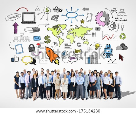 Large Group of Business People with Infographic - stock photo