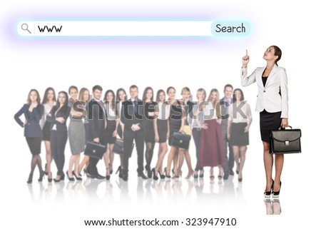 Large group of business people with woman leader. Isolated on white - stock photo