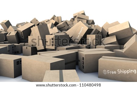 large group of cardboard boxes isolated on white background - stock photo