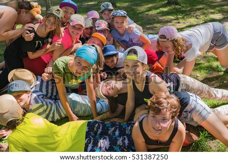 "Large group of cheerful children . Children's camp ""Berezka"". Editorial. Russia. Yaroslavl region. 31.07. 2016"