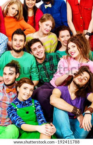 Large group of cheerful young people. Close-up portrait. - stock photo