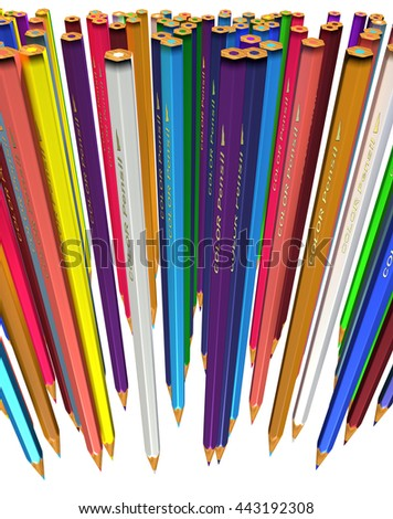 Large group of colored pencils. Colored pencils tightly pressed against each other. Colored pencils stand down tip. Isolated. 3d render. - stock photo