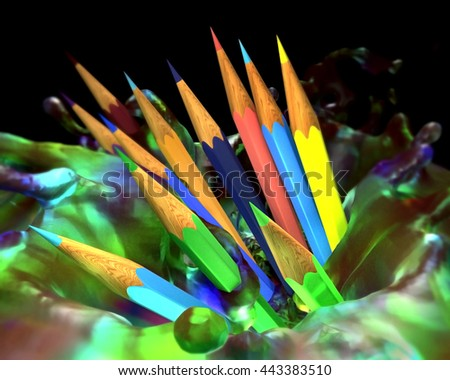 Large group of colored pencils. Colored pencils tightly pressed against each other in splash paint. 3d render. - stock photo