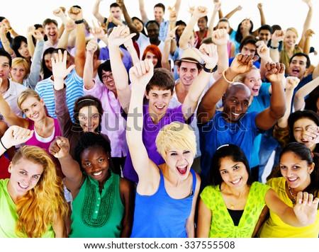 Large Group of Community People Celebrating Concept - stock photo