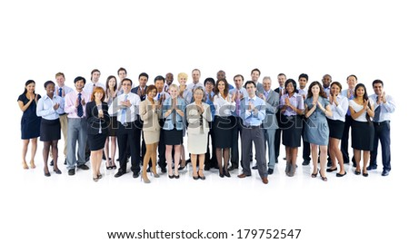 Large Group of Diverse and International Business People Clapping Hands